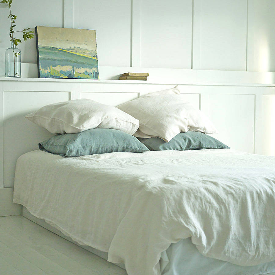 Persephone Euro Shams in White Persephone King Shams in White Persephone Accent Pillow in White Persephone Duvet Cover in White Olivia Bed Throw $3, - $4, Whisper Linen Duvet Cover Parchment Marseille Throw Pillow in Parchment Linen w/Crochet Lace Pillow Parchment Whisper Linen Euro Shams $1, - $2,