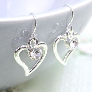 Silver Plated Curvy Heart Drop Earrings - earrings