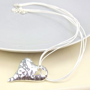 Silver Plated Hammered Heart Necklace - necklaces & pendants