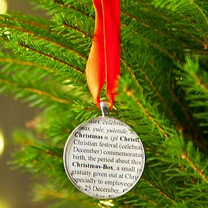 'Christmas' Word Definition Tree Decorations