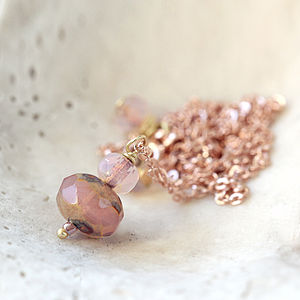 Rose Gold Necklace And Earring Set - earrings