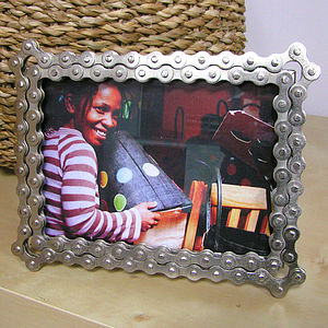 Bike Chain Photo Frame In Bright Nickel Finish - picture frames