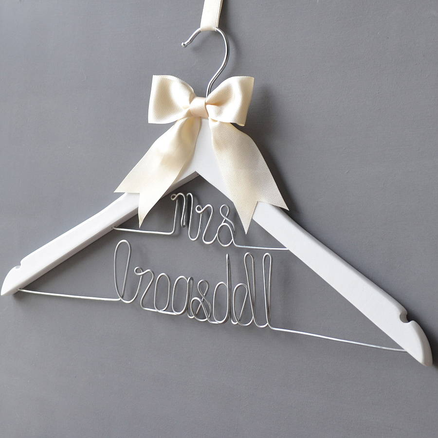 personalised dual line wedding dress hanger by clouds and