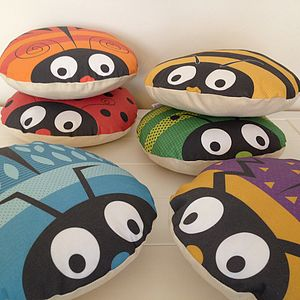 Children's Round Bug Cushion - bedroom