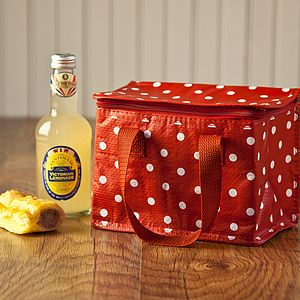 Red Polka Dot Recycled Lunch Box Bag - garden sale