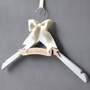 Personalised Engraved Wedding Hanger with Plain Bow