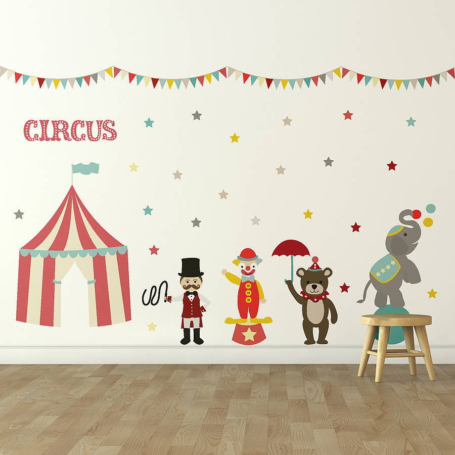 Childrens circus wall sticker set by oakdene designs childrens circus wall sticker set amipublicfo Image collections