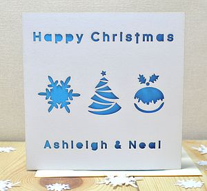 Personalised Laser Cut Christmas Pudding Card - cards