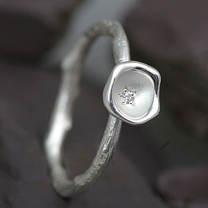 Diamond And Silver Cup Set Ring - rings