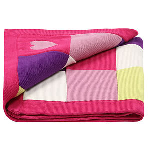 Baby Girls Knitted Blanket Patchwork Hearts