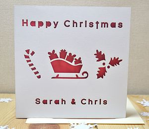 Personalised Laser Cut Christmas Sledge Card - cards & wrap