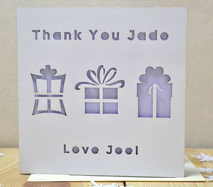 Personalised Laser Cut Thank You Present Card - thank you cards
