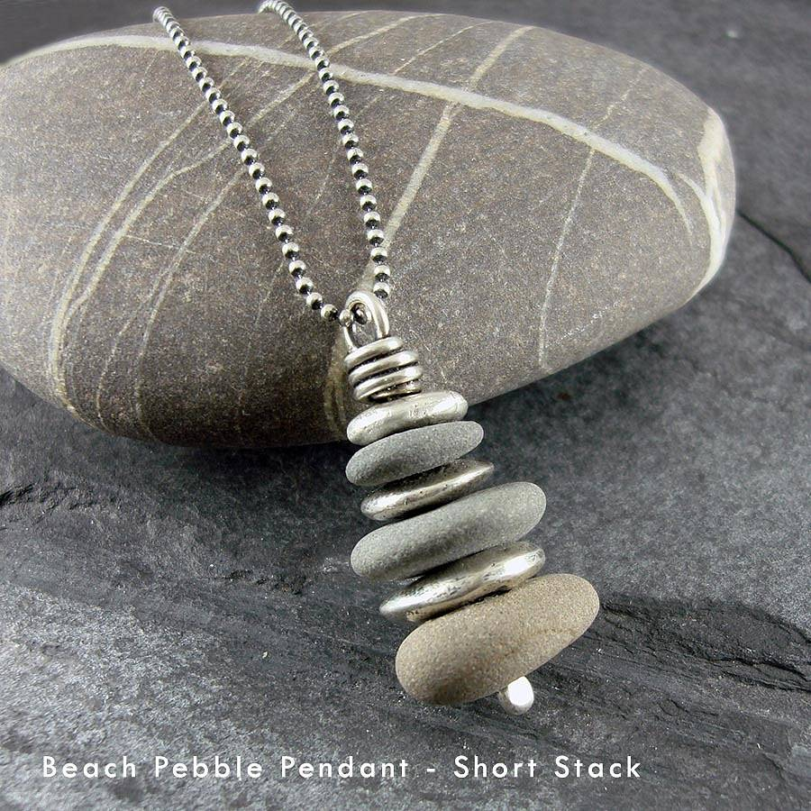 Beach pebble and silver pendant by camali design for How to make rock jewelry