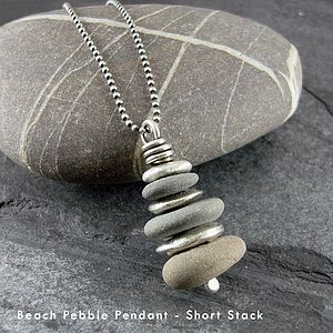 Beach Pebble And Silver Pendant - necklaces & pendants