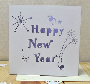 Laser Cut Happy New Year Card - new year cards