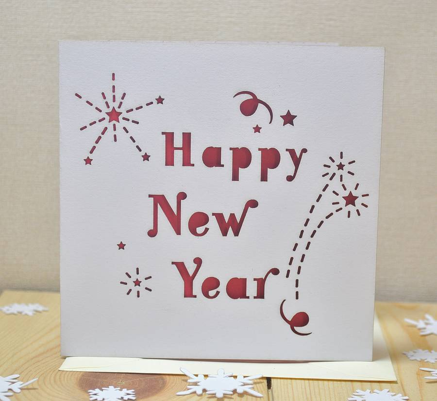 laser cut happy new year card by sweet pea design ...
