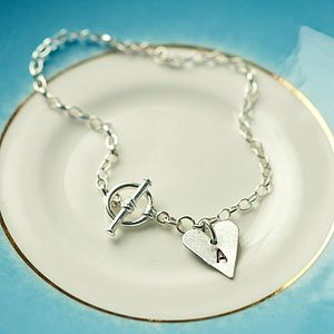 Recycled Aluminium Initial Heart Bracelet