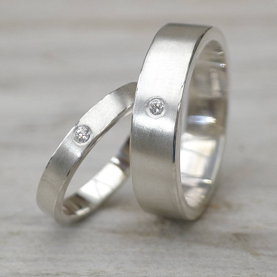 Matching Diamond Silver Wedding Rings