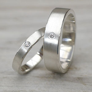 Matching Diamond Silver Wedding Rings - rings