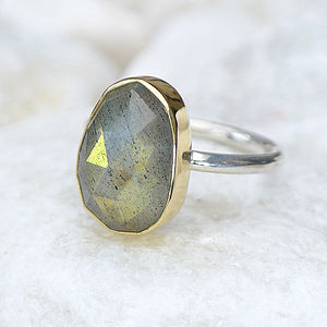 Labradorite Ring In 18ct Gold And Silver