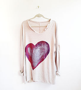 Purple And Silver Hand Printed Heart Jumper - jumpers & cardigans