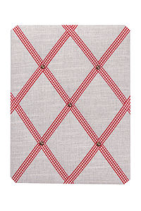Vintage Linen Noticeboard Gingham Ribbon - kitchen
