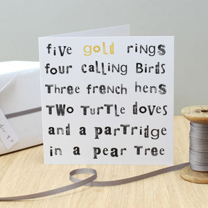 'Five Gold Rings…' Christmas Card - cards