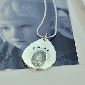 Personalised Teardrop Fingerprint Pendant - necklaces & pendants
