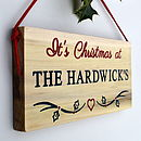 Christmas Sign with Holly and Heart