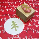 Festive Tree Hand Carved Rubber Stamp
