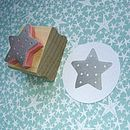 Spotty Star Hand Carved Rubber Stamp