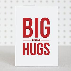 'Big Festive Hugs' Christmas Card - christmas cards