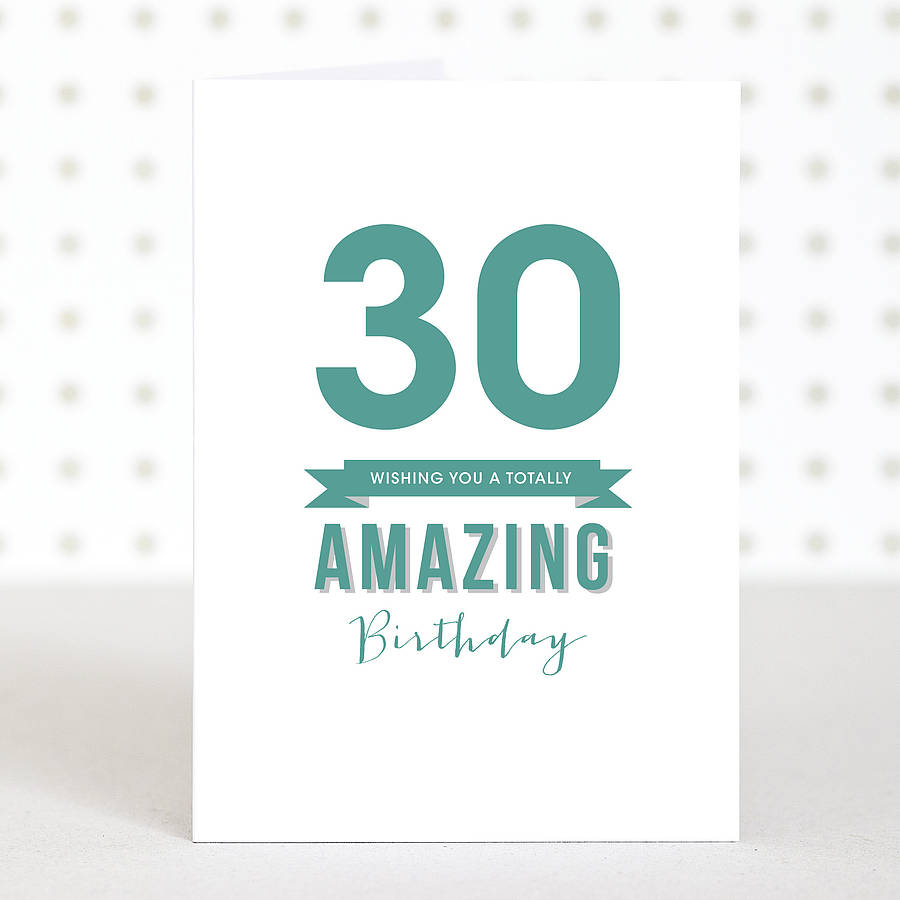 Amazing 30 Birthday Card By Doodlelove