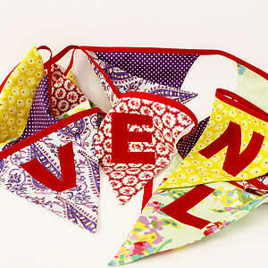 Handmade Personalised Large Fabric Bunting - room decorations