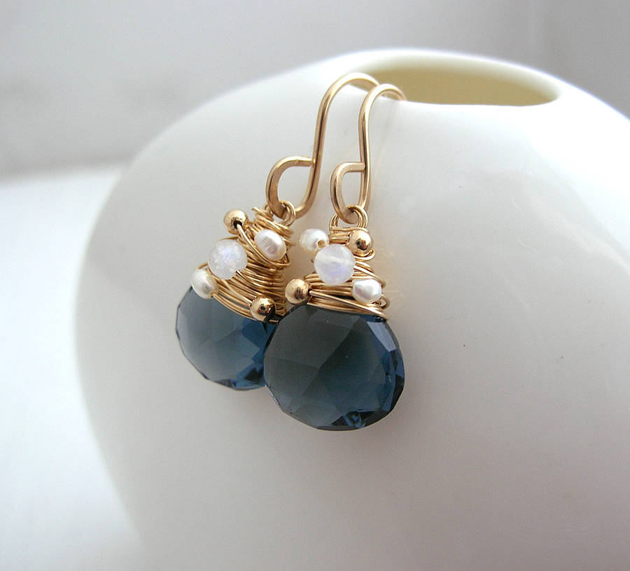 Navy Quartz Moonstone And Pearl Earrings