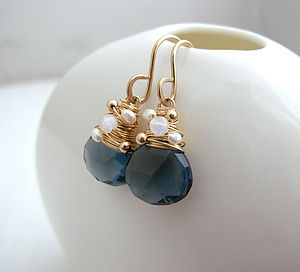 Navy Quartz, Moonstone And Pearl Earrings - earrings