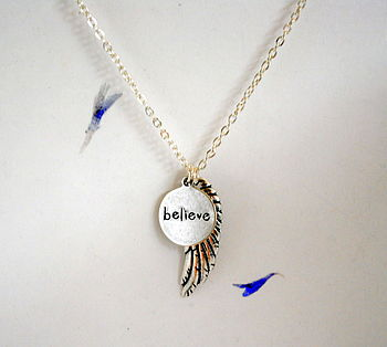 Angel Wing Believe Inspirational Necklace