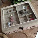 Wooden 'Home Sewing' Box