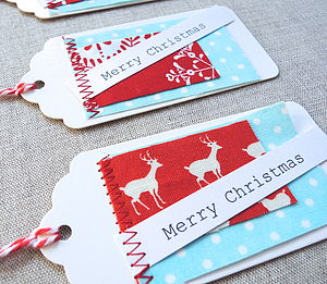 Set Of 10 Christmas Fabric Patch Gift Tags