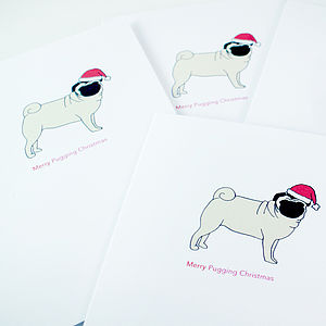 Set Of Pug Dog Christmas Cards - cards & wrap