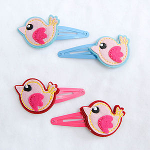 Childrens Felt Bird Hair Clips - hair accessories
