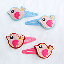 Childrens Felt Bird Hair Clips
