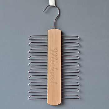Engraved Tie Hanger Joined Up Font
