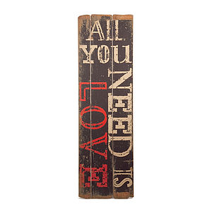 Vintage All You Need Is Love Sign - home accessories