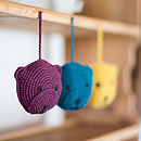 Three Bears Hanging Toys In Organic Cotton