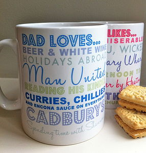 Personalised 'Likes or Hates' Mug - living room