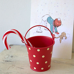 Set Of Three Mini Red Buckets - christmas home accessories