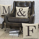 Thumb alphabet letter linen cushion