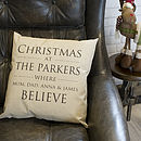 Personalised Believe Family Cushion