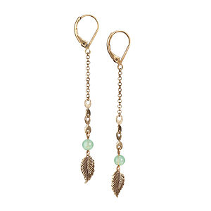 Long Antiqued Brass Leaf Earrings